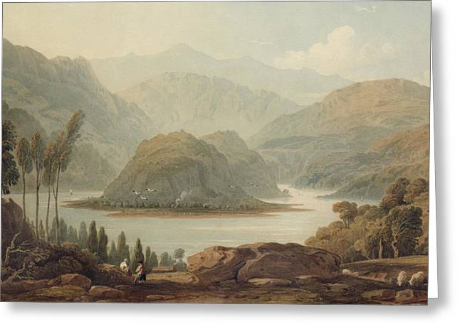 Mountain Valley Drawings Greeting Cards - View Of The Mondego River Greeting Card by John Varley