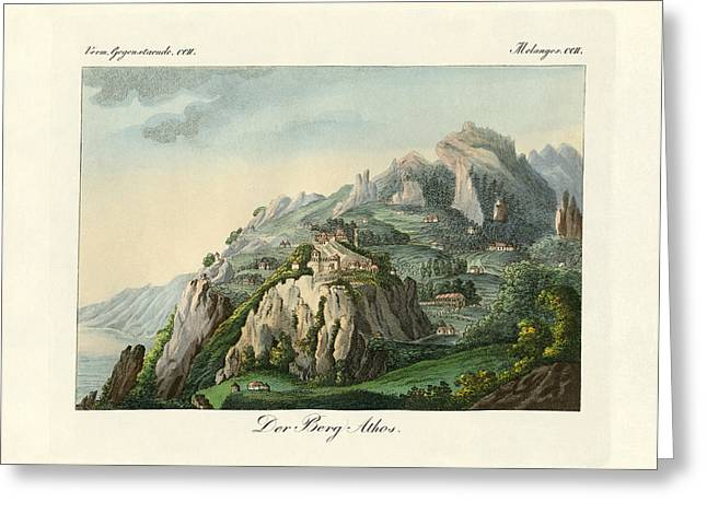 Berges Greeting Cards - View of the Mount Athos Greeting Card by Splendid Art Prints