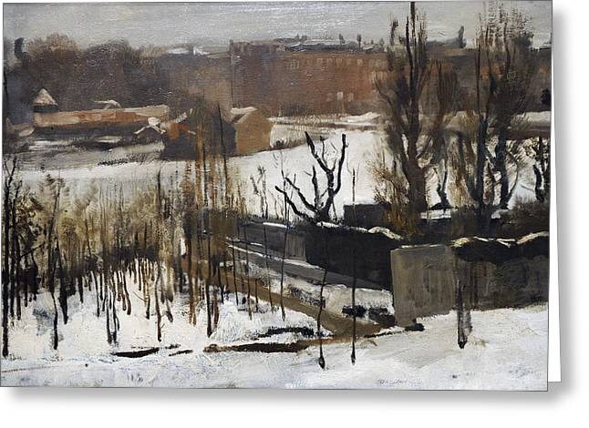 Art Of Building Greeting Cards - View Of The Oosterpark, Amsterdam, In The Snow, 1892, By George Hendrik Breitner 1857-1923 Greeting Card by Bridgeman Images