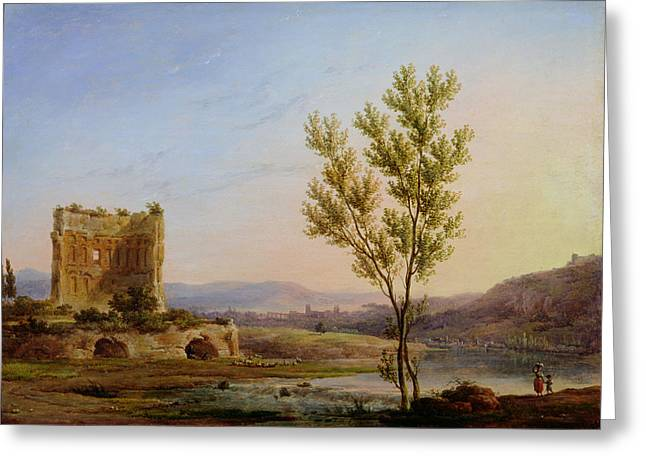 River Scenes Photographs Greeting Cards - View Of The Outskirts Of Rome Oil On Canvas Greeting Card by Pierre Henri de Valenciennes