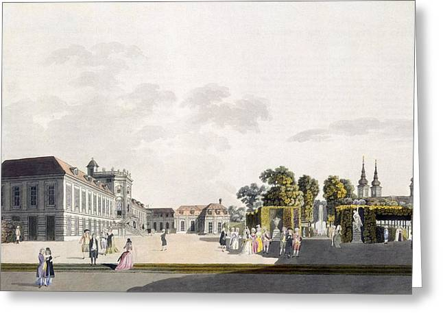 View Drawings Greeting Cards - View Of The Palace And Gardens Owned Greeting Card by Laurenz Janscha