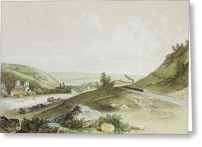 French Countryside Greeting Cards - View Of The Paris-orleans Railway Near Etrechy Colour Litho Greeting Card by Jean-Jacques Champin