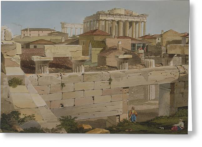 Landscape Drawings Greeting Cards - View Of The Parthenon Greeting Card by Edward Dodwell