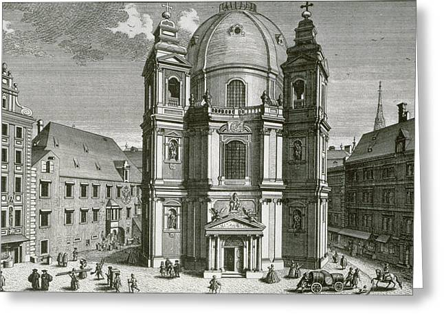 Ecclesiastical Architecture Greeting Cards - View Of The Peterskirche, Vienna Engraved By Johann Bernard Hattinger Engraving Greeting Card by Salomon Kleiner