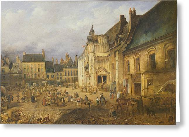 Town Photographs Greeting Cards - View Of The Place De Lhotel De Ville, Saint-omer, 1832 Oil On Canvas Greeting Card by Charles Goureau