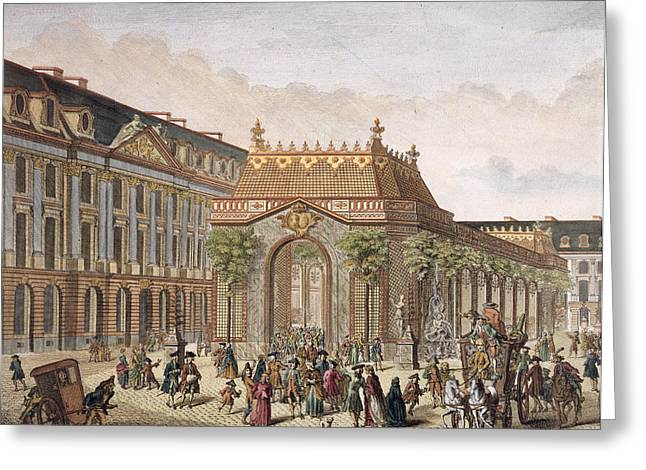 Trellis Drawings Greeting Cards - View Of The Place De Louis Le Grand Greeting Card by French School