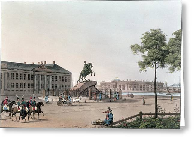 Equestrian Prints Greeting Cards - View Of The Place Of Peter The Great Greeting Card by Mornay