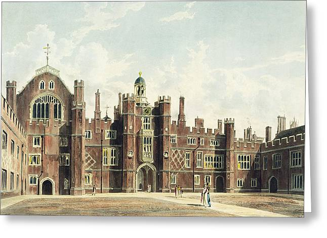 Facades Drawings Greeting Cards - View Of The Quadrangle At Hampton Court Greeting Card by William Westall