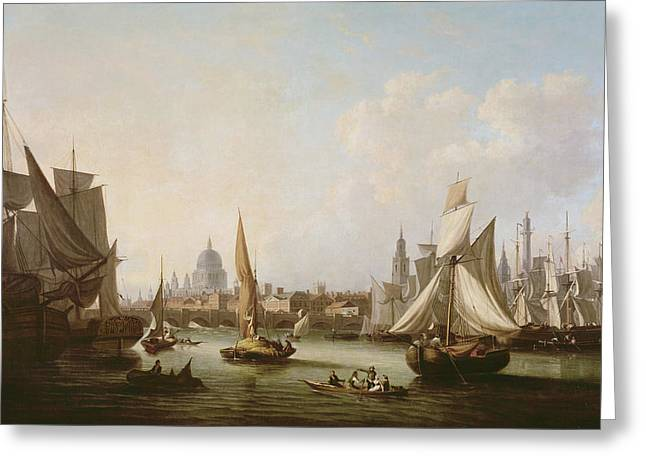 Fish Market Greeting Cards - View Of The River Thames Oil On Canvas Greeting Card by John Thomas Serres