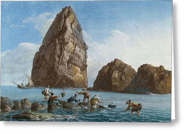 Cyclops Greeting Cards - View of the Rocks on the Third Island of Cyclops Greeting Card by Jean-Pierre-Louis-Laurent Houel