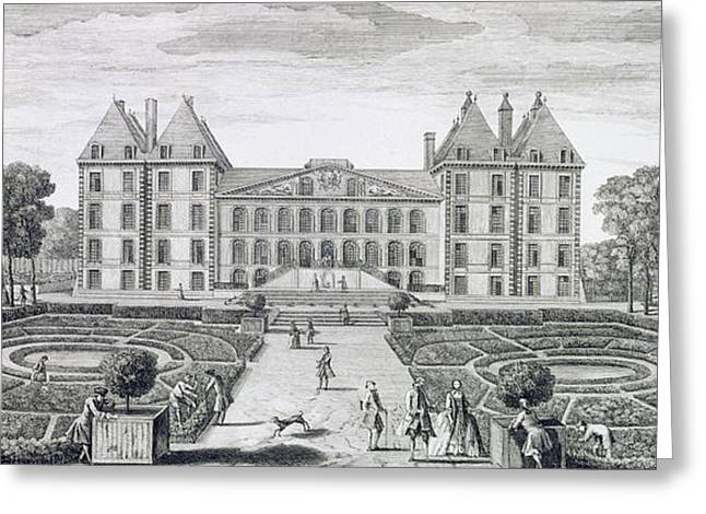Garden Drawings Greeting Cards - View of the Royal Chateau of Saint Maur from the garden  Greeting Card by Jacques Rigaud