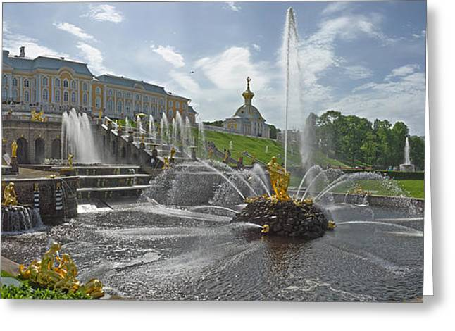 The Great Outdoors Greeting Cards - View Of The Samson Fountain In Front Greeting Card by Panoramic Images