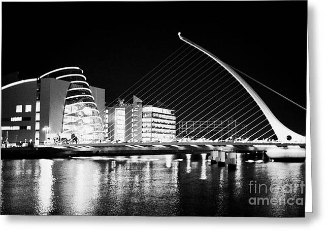 Quay Wall Greeting Cards - View Of The Samuel Beckett Bridge Over The River Liffey And The Convention Centre Dublin At Night Du Greeting Card by Joe Fox
