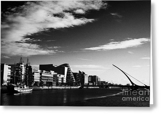 View Of The Samuel Beckett Bridge Over The River Liffey And The Convention Centre Dublin Republic Of Greeting Card by Joe Fox
