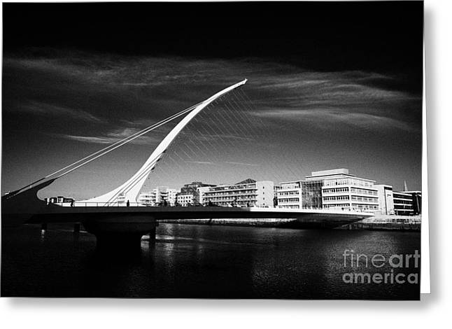 Quay Wall Greeting Cards - View Of The Samuel Beckett Bridge Over The River Liffey Dublin Republic Of Ireland Greeting Card by Joe Fox