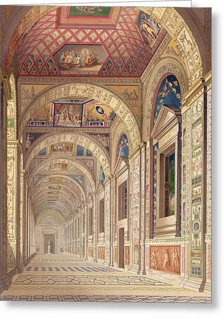 Cameo Drawings Greeting Cards - View Of The Second Floor Loggia Greeting Card by Italian School