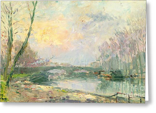 River Paintings Greeting Cards - View of the Seine Paris Greeting Card by Albert Charles Lebourg