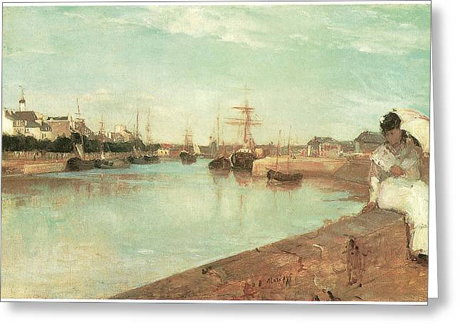 Lorient Greeting Cards - View of the Small Harbor of Lorient Greeting Card by Berthe Morisot