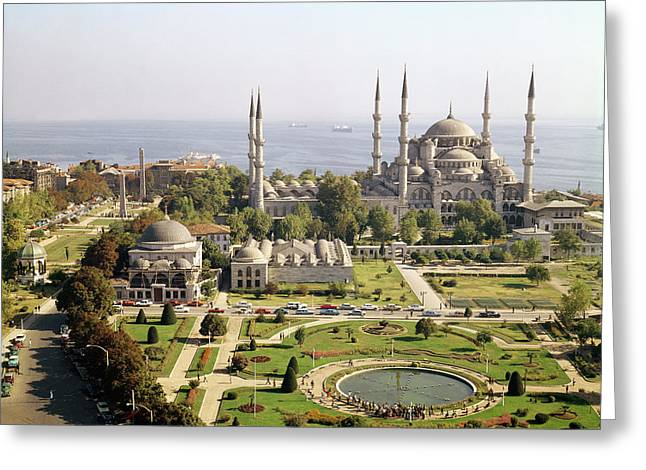 Minaret Greeting Cards - View Of The Sultan Ahmet Camii Blue Mosque Built 1609-16 Photo Greeting Card by Mehmet Aga