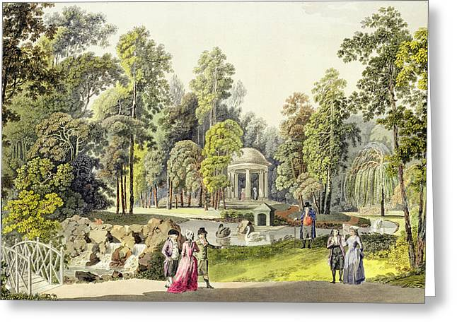 Garden Drawings Greeting Cards - View of the Temple of Diana at Erlaw Greeting Card by Laurenz Janscha