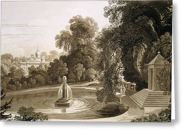 Stone House Drawings Greeting Cards - View Of The Temple Of Suryah Greeting Card by John Martin