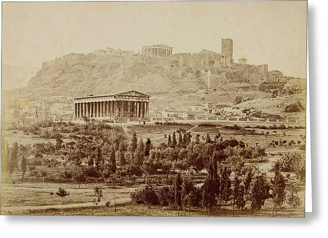 In The Distance Greeting Cards - View of the Theseion with the Acropolis in the distance Greeting Card by Petros Moraitis