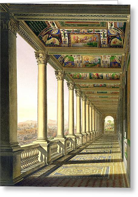 Cameo Drawings Greeting Cards - View Of The Third Floor Loggia Greeting Card by Italian School