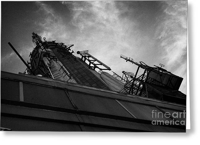 view of the top of the empire state building radio mast new york city Greeting Card by Joe Fox