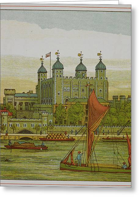 View Of The Tower Of London Greeting Card by British Library