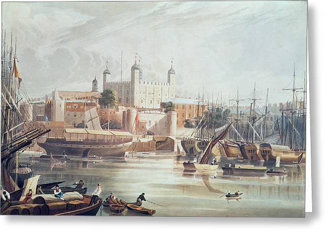 Print Photographs Greeting Cards - View Of The Tower Of London, Engraved By Daniel Havell 1785-1826 Pub. In Ackermanns Repository Greeting Card by John Gendall