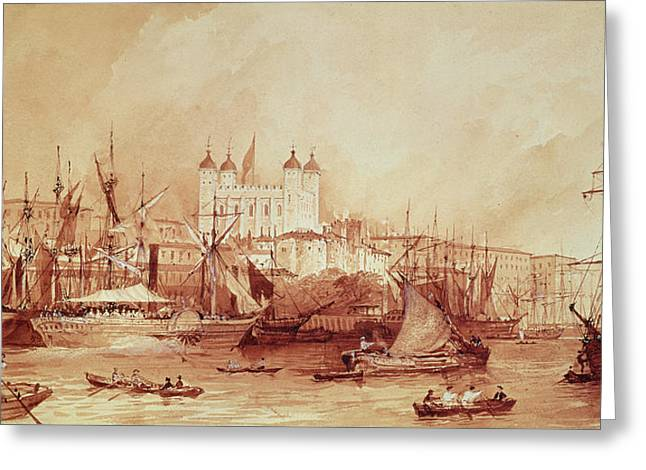 View Of The Tower Of London Greeting Card by William Parrott