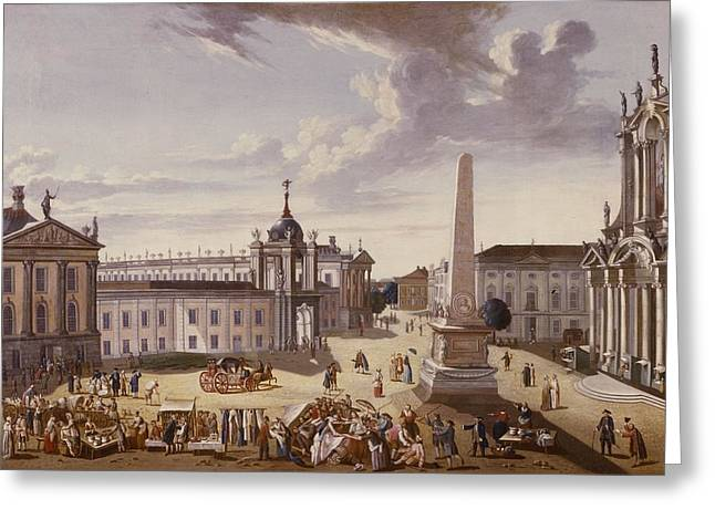 Marketplaces Greeting Cards - View Of The Town Hall, 1772 Oil On Canvas See Also 330437 Greeting Card by Carl Christian Baron