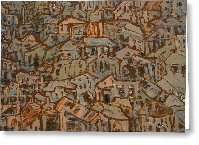 Prague Paintings Greeting Cards - View of the Town Greeting Card by Oscar Penalber