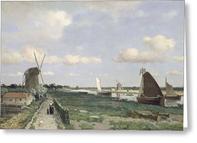 Sailing Boat Greeting Cards - View Of The Trekvliet Canal Near The Greeting Card by Johannes Hendrik Weissenbruch