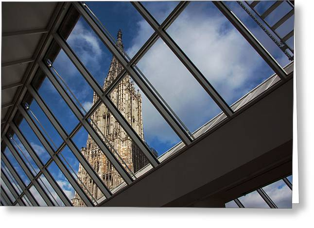 Ulm Greeting Cards - View of the Ulm Cathedral through Glass Greeting Card by Mountain Dreams