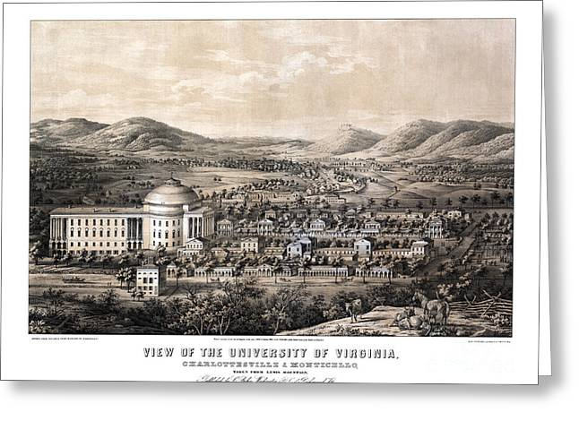 Universities Drawings Greeting Cards - View of the University of Virginia - 1856 Greeting Card by Pablo Romero