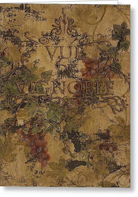 Wine Grapes Mixed Media Greeting Cards - View of the Vineyard Greeting Card by Chris Brandley