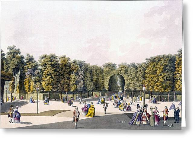 Sighs Greeting Cards - View Of The Walk Of Sighs At Augarten Greeting Card by Johann Ziegler