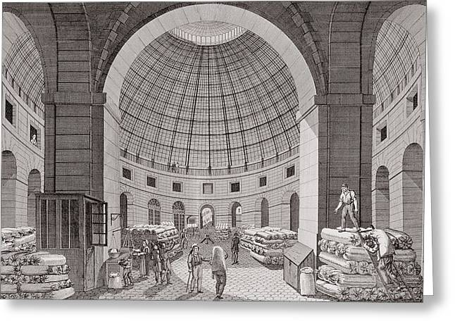 Domes Greeting Cards - View Of The Wheat Market And The Cupola, 18th-19th Century Engraving Greeting Card by Pierre Courvoisier
