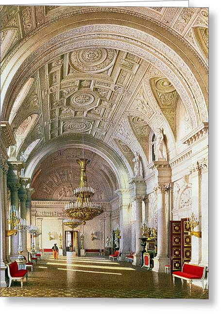 Stucco Greeting Cards - View Of The White Hall In The Winter Palace In St. Petersburg, 1865 Wc On Paper Greeting Card by Luigi Premazzi