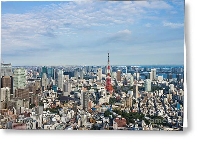 Roppongi District Greeting Cards - View of Tokyo City Greeting Card by Wing Lun Leung