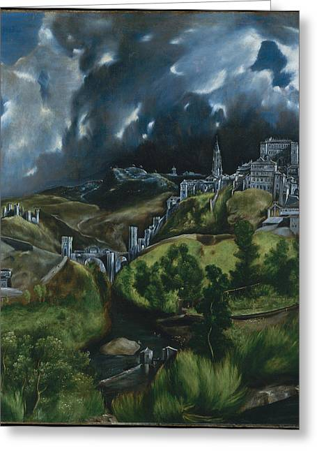 Bravery Greeting Cards - View of Toledo Greeting Card by El Greco