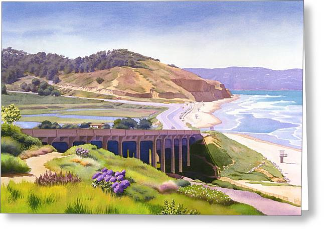 Background Greeting Cards - View of Torrey Pines Greeting Card by Mary Helmreich