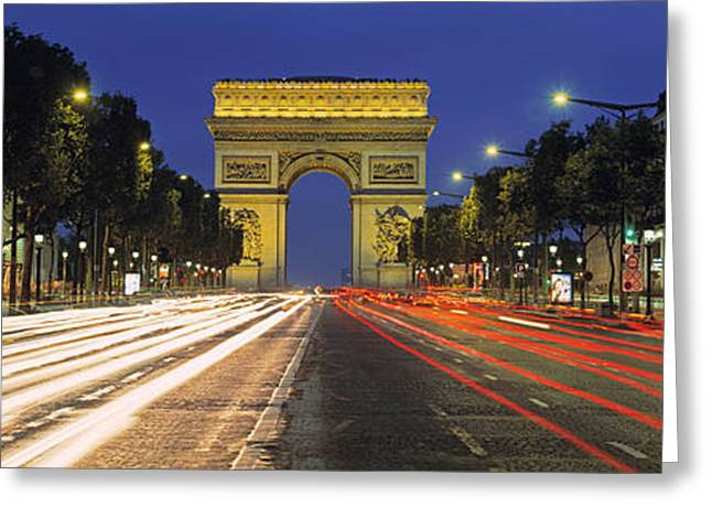 Night Lamp Greeting Cards - View Of Traffic On An Urban Street Greeting Card by Panoramic Images