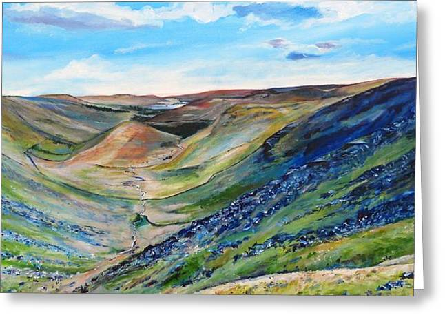 View Of Troutbeck From Stony Cove Pike The Lake District Greeting Card by Robina Osbourne
