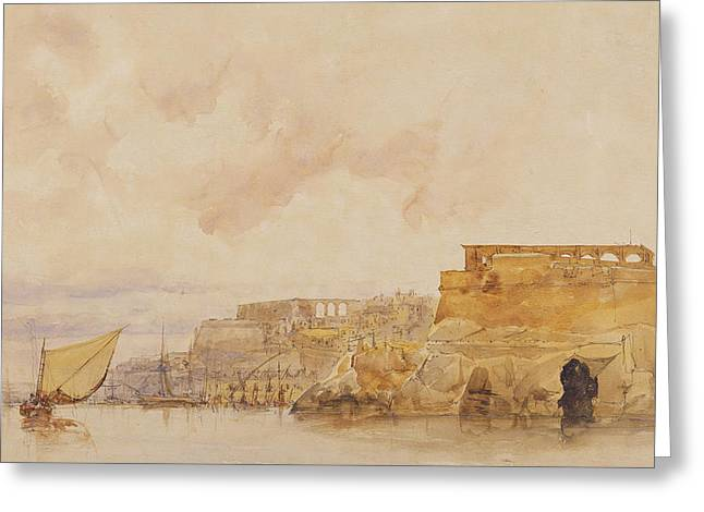 Ocean Landscape Drawings Greeting Cards - View of Valetta Greeting Card by James Holland