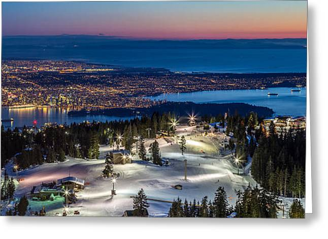 Burrard Inlet Greeting Cards - View of Vancouver city from Grouse Mountain Greeting Card by Pierre Leclerc Photography