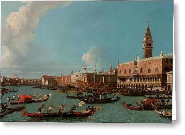 Santa Maria Greeting Cards - View of Venice with the Doge Palace and the Salute Greeting Card by Canaletto