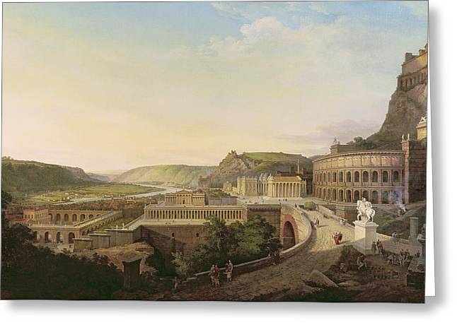 Fort River Greeting Cards - View Of Vienna In Roman Times, 1860 Oil On Canvas Greeting Card by Etienne Rey