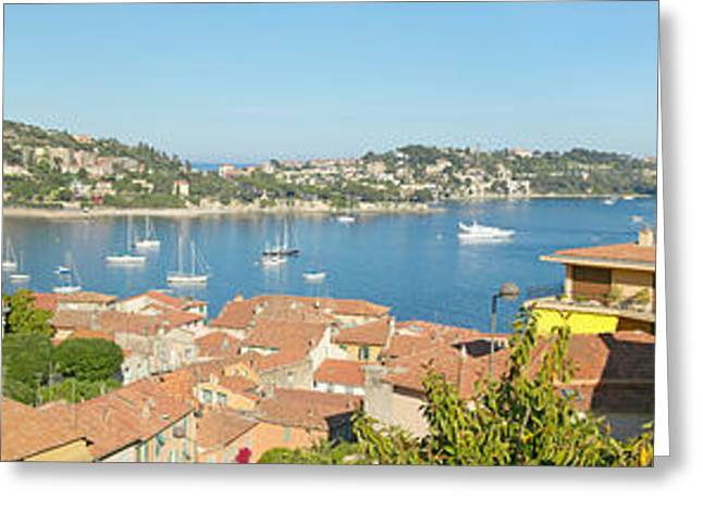 Gallic Greeting Cards - View Of Villefranche Sur Mer, French Greeting Card by Panoramic Images